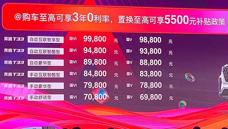 一汽奔腾T33正式上市 指导价6.98
