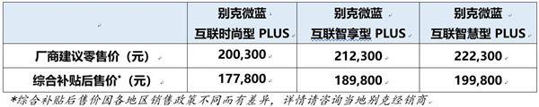 别克微蓝410KM版补贴后售17.78-19.98万元