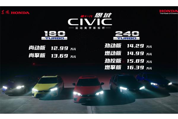 售12.99万—16.39万元 东风Honda第十一代思域正式上市
